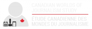 The logo for the Canadian Worlds of Journalism Study. An icon of a person with a notepad, microphone and phone with a red maple leaf on their chest. Canadian Worlds of Journalism Study is to the right in English and French.
