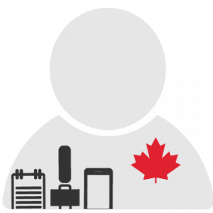 The logo for the Canadian Worlds of Journalism Study. An icon of a person with a notepad, microphone and phone with a red maple leaf on their chest.