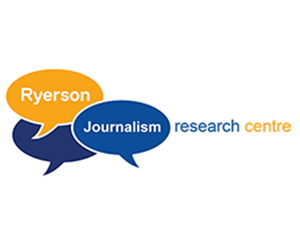 Logo for the Ryerson Journalism Research Centre. The words Ryerson Journalism are in yellow and blue speech bubbles with research centre beside them.