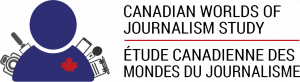 The logo for the Canadian Worlds of Journalism Study. An icon of a person with a notepad, two microphones, a camera and phone with a red maple leaf on their chest. Canadian Worlds of Journalism Study is to the right in English and French.