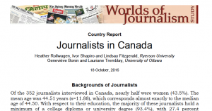 Cover image for the Worlds of Journalism Study country report on Journalism which lists the author names and includes the first two sentences of the report.