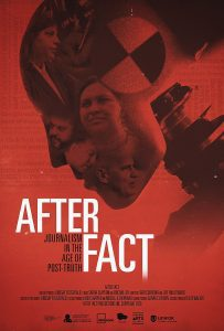 The After Fact film poster. The poster is read with a crash dummy in shades of black and grey. The dummy's head has photos of working journalists in it.