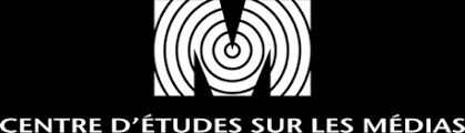 Logo for the Centre of Media Studies, which is their name beneath a larger white M with a signal spiraling through it.