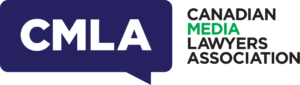 Logo for the Canadian Media Lawyers Association. CMLA is in a blue speech bubble next to the name. The word media is in green; all others are black.